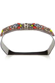 Matthew Williamson Crystal-embellished glitter-finished PVC headband