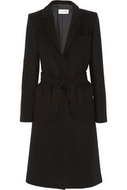 Saint Laurent Wool and angora-blend wrap coat