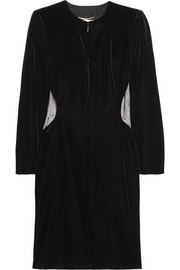 Saint Laurent Embellished tulle-paneled velvet mini dress