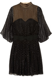 Saint Laurent Metallic polka-dot silk-chiffon mini dress