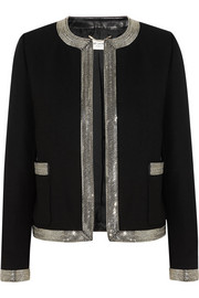 Saint Laurent Embellished leather-trimmed wool-crepe jacket