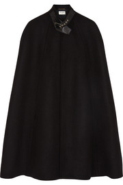 Saint Laurent Leather-trimmed wool and angora-blend felt cape
