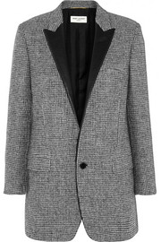 Saint Laurent Leather-trimmed wool-tweed blazer