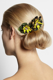 + Sam McKnight Floramorta acetate and Swarovski crystal hair comb