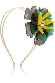 VICKISARGE + Sam McKnight Floramorta gold-tone, acetate and Swarovski crystal headband