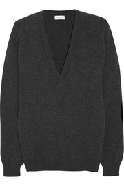 Saint Laurent Suede-trimmed cashmere sweater