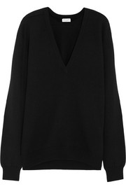 Saint Laurent Oversized suede-trimmed cashmere sweater