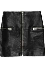 Zip-trimmed leather mini skirt