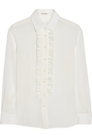 Saint Laurent Ruffled silk-georgette shirt