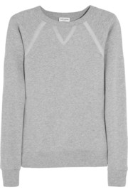 Grosgrain-trimmed cotton-jersey sweatshirt