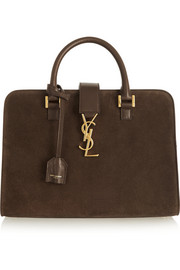Saint Laurent Monogramme Cabas leather-trimmed suede tote