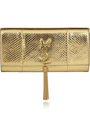 Saint Laurent Monogramme metallic python clutch