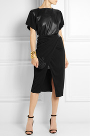 Vionnet Leather-paneled jersey-crepe dress