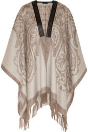 Etro Leather-trimmed printed cashmere cape