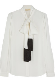 MICHAEL Michael Kors Fringed pussy-bow silk blouse