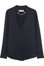 MICHAEL Michael Kors Chain-embellished silk-cady blouse