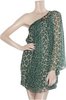 SingleAnimal-print chiffon dress