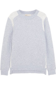 Terry-paneled cotton-blend jersey sweatshirt