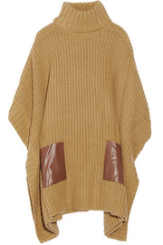 MICHAEL Michael Kors Faux leather-trimmed ribbed-knit poncho