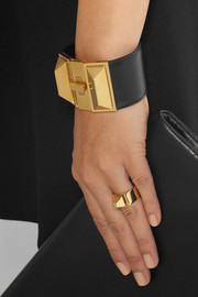 Saint Laurent Clous Punk gold-plated and leather bracelet