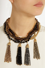 Rosantica Himalaya gold-dipped hematite, onyx and quartz necklace