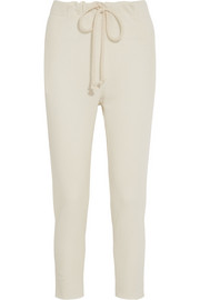 Cashmere and linen-blend track pants