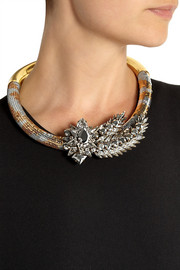Shourouk Aigrette gold-plated, Swarovski crystal and sequin necklace