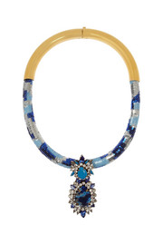 Shourouk Gold-plated, Swarovski crystal and sequin necklace
