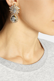 Shourouk Comet gold-plated, Swarovski crystal and sequin clip earrings