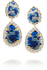 Shourouk Montana gold-plated, Swarovski crystal and sequin clip earrings