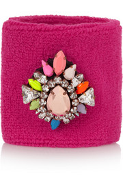 Shourouk Wimblee Swarovski crystal-embellished stretch-terry wristband