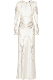 Alexander McQueen Embroidered satin-twill gown