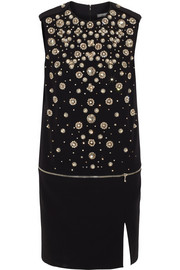Alexander McQueen Crystal-embellished crepe mini dress