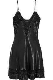 Alexander McQueen Ruffle-trimmed satin mini dress