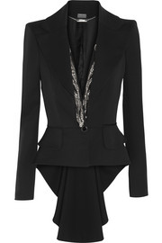 Alexander McQueen Crystal-embellished wool tailcoat