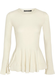 Alexander McQueen Wool and cashmere-blend peplum sweater