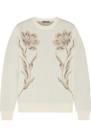 Metallic wool-blend jacquard sweatshirt