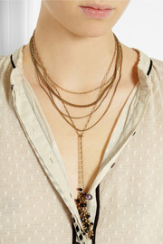 Isabel Marant Multi-strand gold-tone crystal necklace