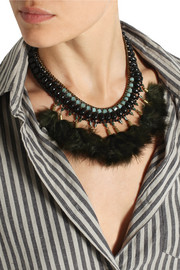 Isabel Marant Gold-tone, crystal and feather necklace