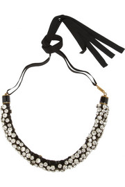 Isabel Marant Gold-tone, crystal and leather necklace