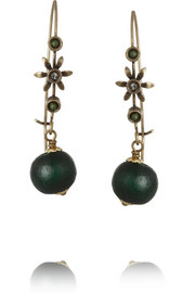 Isabel Marant Gold-tone, crystal and wood earrings