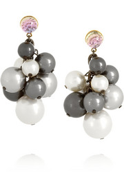 VICKISARGE Rhapsody ruthenium-plated, Swarovski pearl and crystal earrings