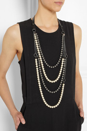 VICKISARGE Chain Reaction gunmetal-plated, Swarovski pearl and leather necklace
