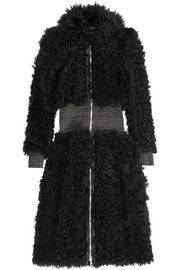 Alexander McQueen Leather-trimmed shearling coat