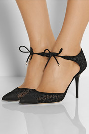 Jimmy Choo Valor flocked mesh and suede pumps