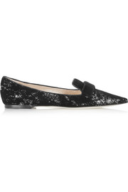 Gala flocked sequined leather point-toe flats