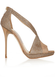 Jimmy Choo Vision textured-lamé sandals