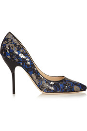 Jimmy Choo Mitchel metallic lace-covered suede pumps