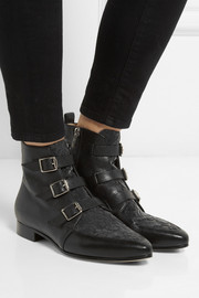 Jimmy Choo Marlin flocked leather ankle boots