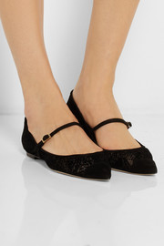 Jimmy Choo Blanch suede-trimmed flocked mesh point-toe flats